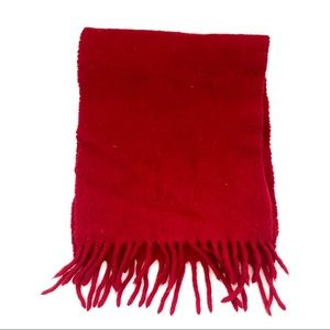 Vintage GAP Cherry Red Fringe Lambswool Scarf